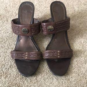 Brown heel sandals